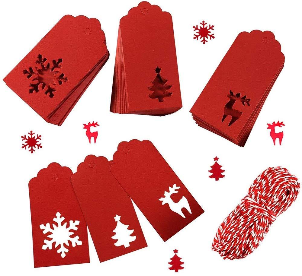 Etiquette cadeau de Noël rouge