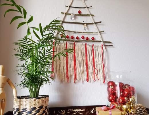 tuto DIY sapin de noël, arbre de noel macramé et bois