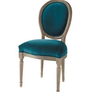 Chaise style baroque velours bleu