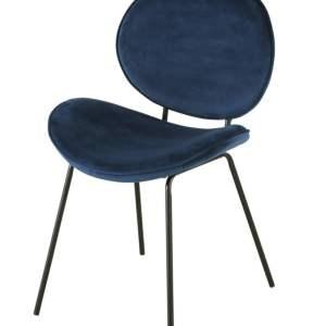 LUNA chaise en velours bleu et métal noir