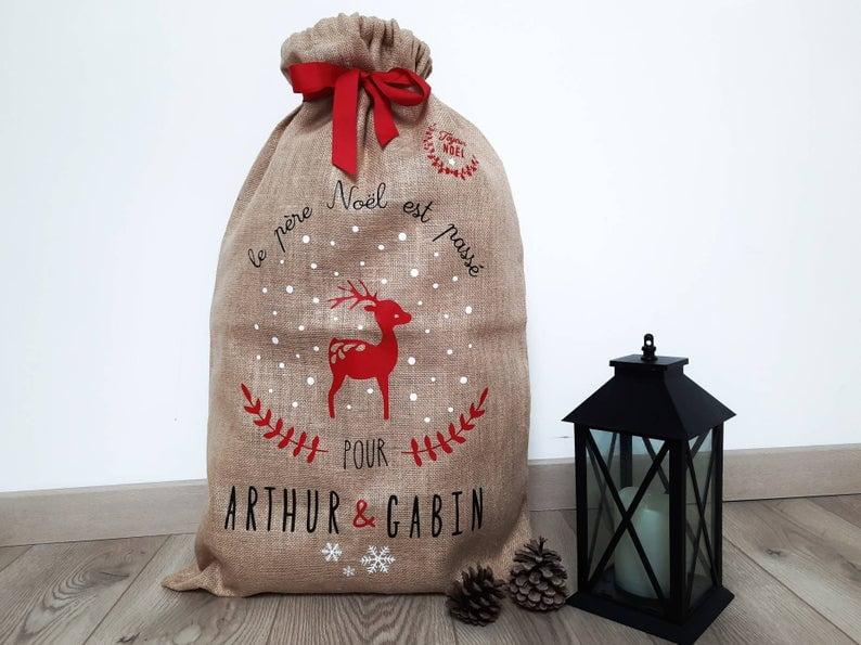 Sacs cadeaux de Noël en tissu - personnalisable prénom