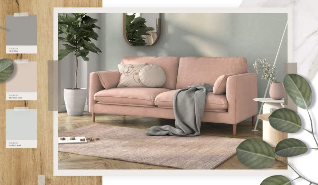 Canapé tissu fabriqué en France , tissu rose