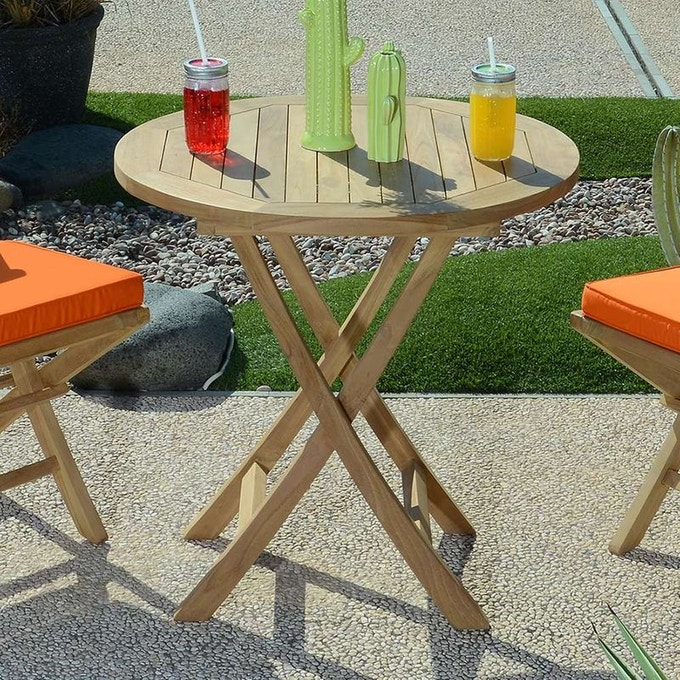petite table de terrasse en teck