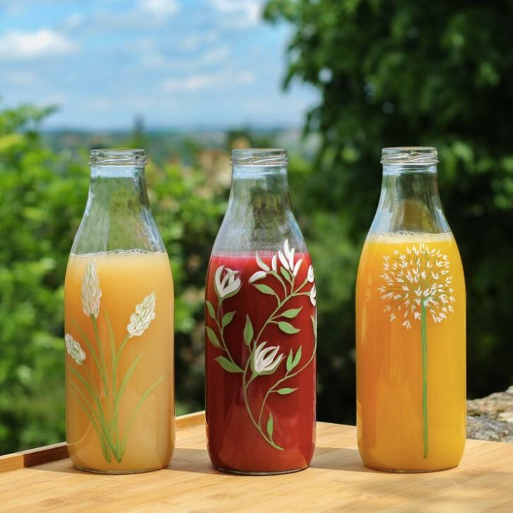 bouteilles zéro déchet peintes à la main