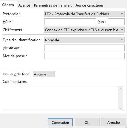 Panneau de connexion FileZilla