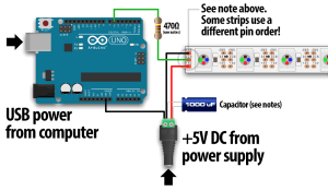 Connect ws2812b led strip to gnd & data pin only | Espruino