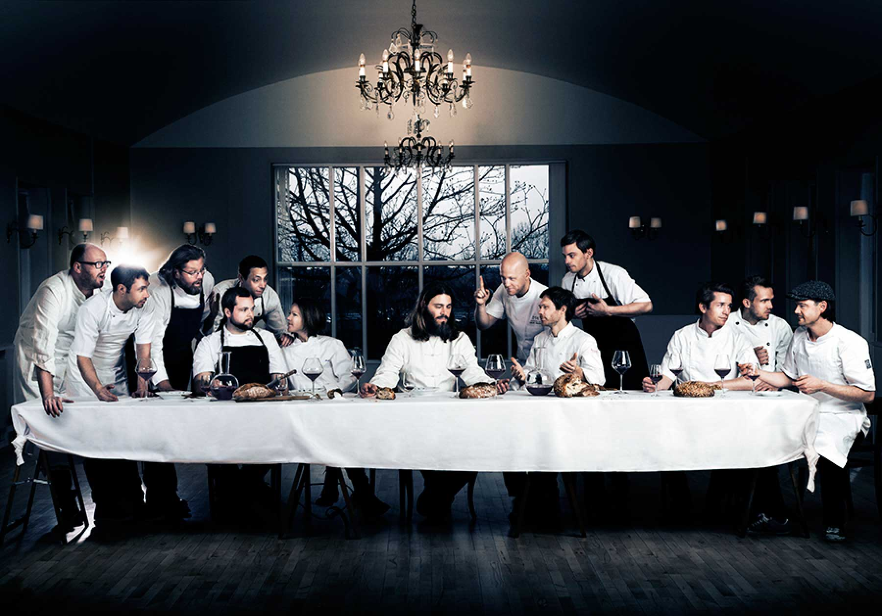 Marie Louise Munkegaard; Photographer; The Last Supper, The Last Supper with chefs, Den sidste nadver, Chefportraits, Leonardi Da Vinci The Last Supper, Madfotografi; Foodphotography; Scandinavian foodphotography; Nordic; Copenhagen; Denmark