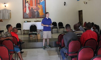 Brady Cillo leads the training session with Espwa project liaisons