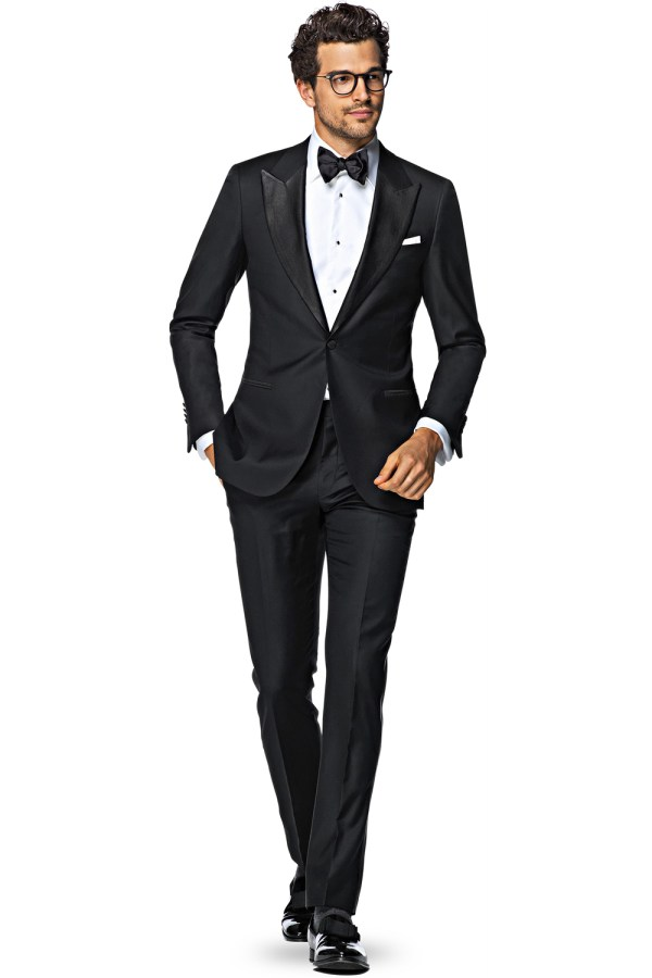 Black and White Bow Tie with Suit
