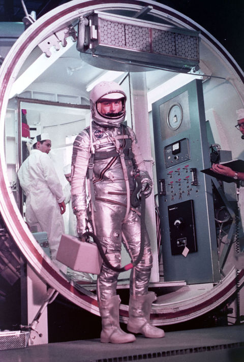 Astronaut John Glenn prepares to enter the Mercury launch vehicle February 20, 1962 at Cape Canaveral, FL.