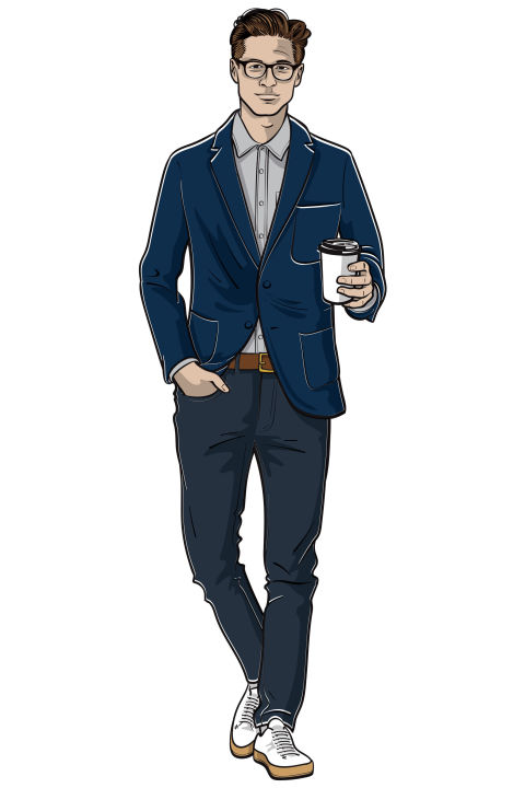 Casual Friday means business casual, not sweats on a Sunday casual. So stick to dark-wash jeans, a button-down oxford or chambray shirt, and an unstructured blazer. And then add a dose ofcool with a pair of minimalist sneakers. Shop similar:Blue Bailey slim-fit unstructured cotton and linen-blend canvas blazer ($875) by Dries Van Noten, mrporter.com; Petit New Standard raw denim jeans ($195) by A.P.C., usonline.apc.fr; light grey brushed chambray shirt ($125) by Buck Mason, buckmason.com; hand-sewn suede sneakers ($520) by Feit, feitdirect.com; 40 Year Belt in brown ($108) by Buck Mason, buckmason.com