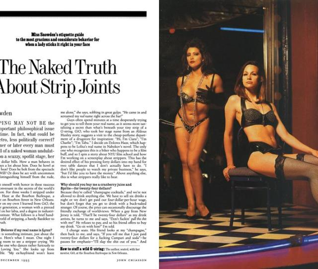 The Naked Truth About Strip Joints Lynn Snowden December 1 1993