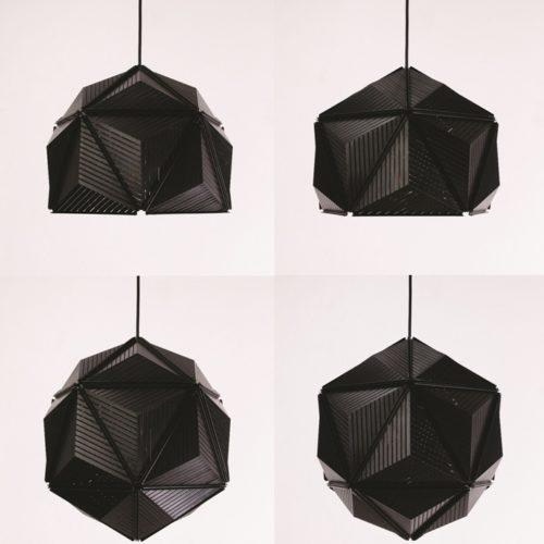 candeeiros modulares icosa stripe preto em quatro formatos
