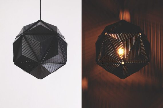 QL10248-BK Icosa Stripe Lamp 1 lifestyle