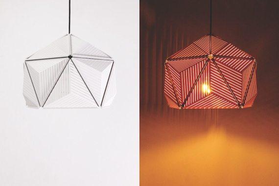 QL10248-WH Icosa Stripe Lamp half round 1 lifestyle