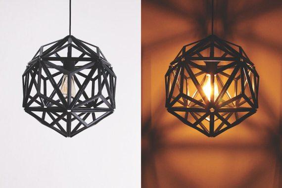 QL10249-BK Icosa Wireframe Lamp 2 lifestyle