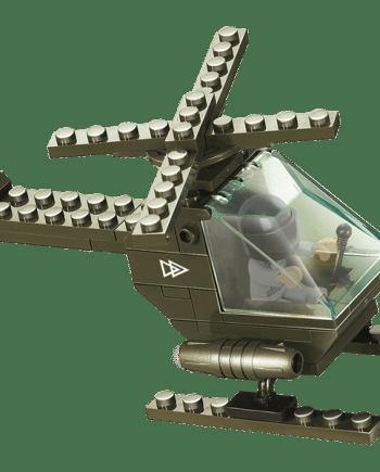 helicóptero em blocos para montar verde tropa