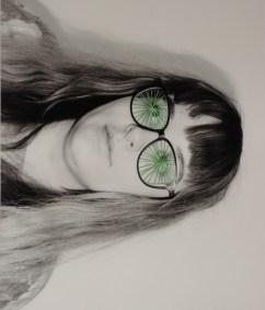 Female wth cracked glasses