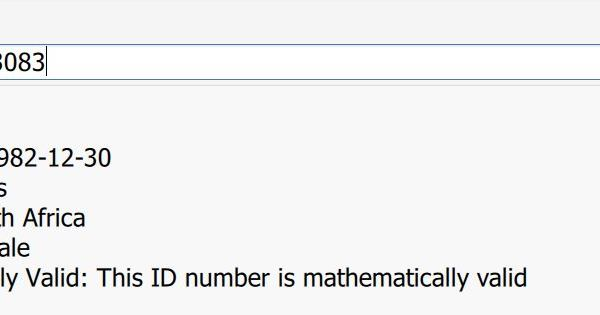 Mathematically Verifying South African ID Numbers with Survey123