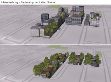 Compare redevelopment scenarios