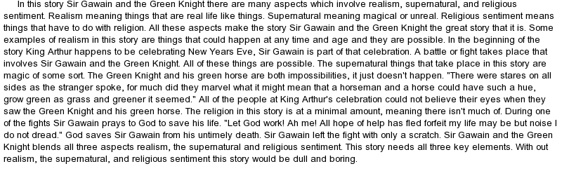 sir gawain and the green knight essay