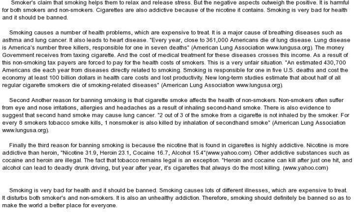 banning of smoking essays Keywords: smoking ban essay, public smoking essay the numbers of people  who smoke have increase over the years although they are.