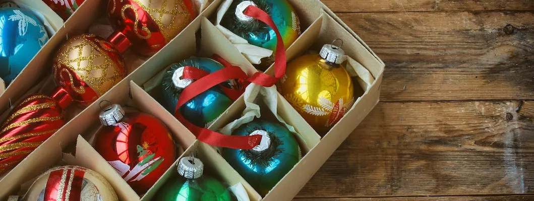 Holiday ornaments in storage box