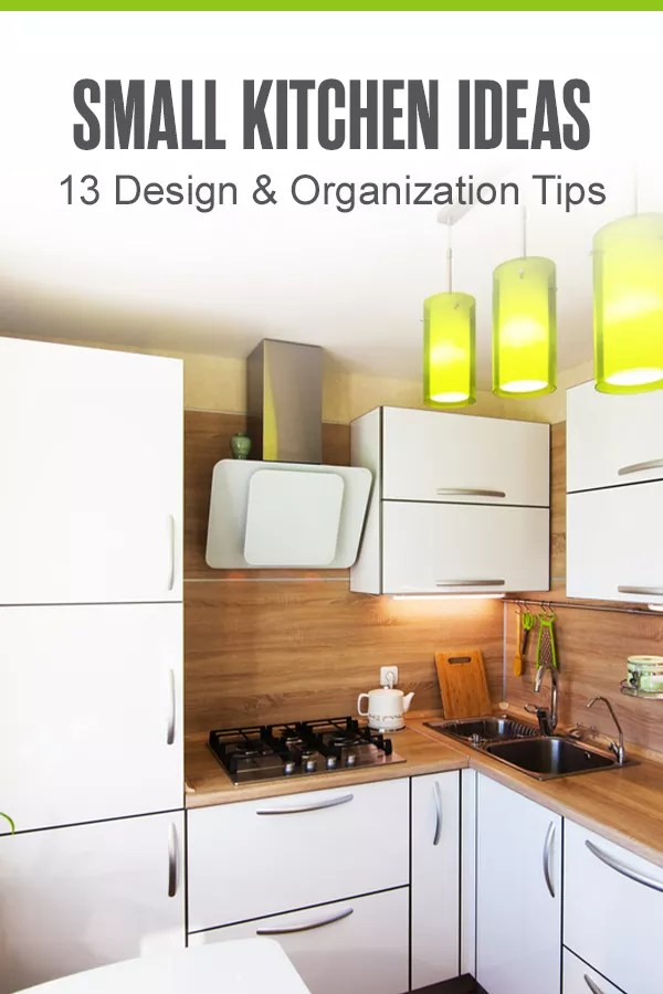 Looking for ways to make your small kitchen seem bigger? From hanging bulky pots and pans to adding pops of color with plants, there are tons of simple kitchen design and storage hacks to make your small space feel larger and less cluttered. Check out these 13 small kitchen organization ideas! via @extraspace