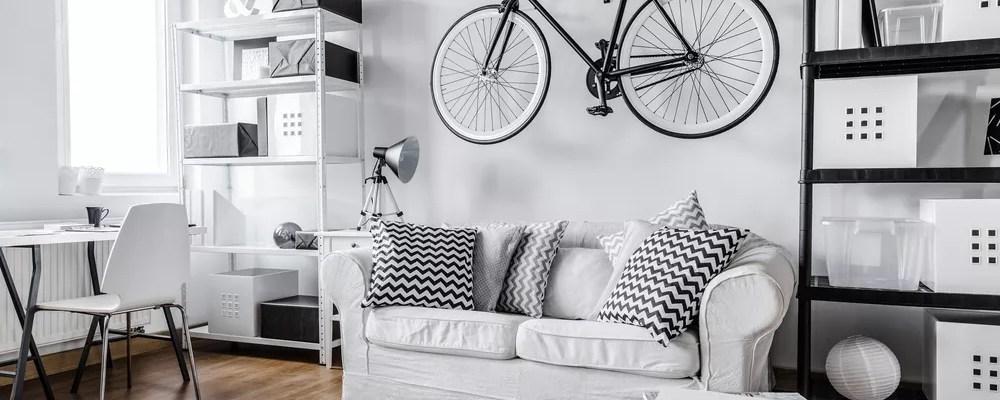 Studio apartment with black and white interior design