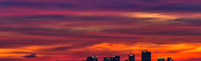 Skyline of Phoenix, AZ during a sunset