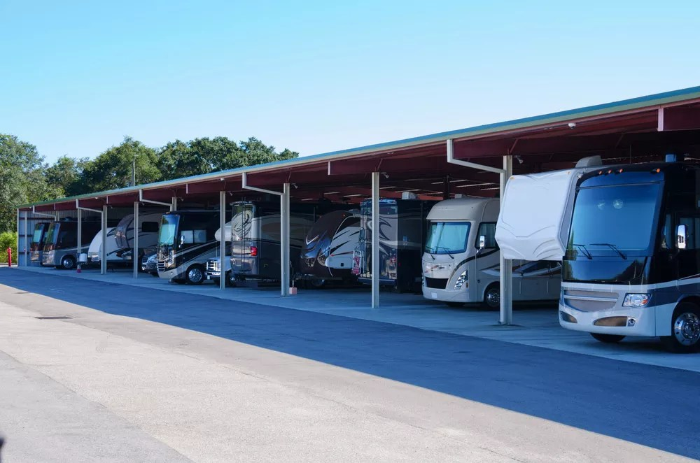Line of RVs in covered outdoor self storage