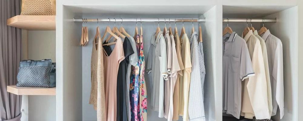 Organized closet with spring wardrobe