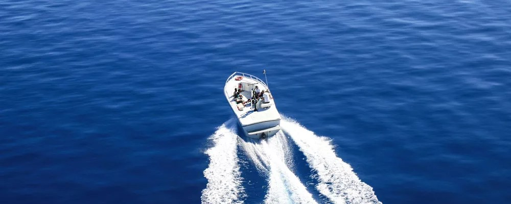 Speed boat driving on Lake Tahoe