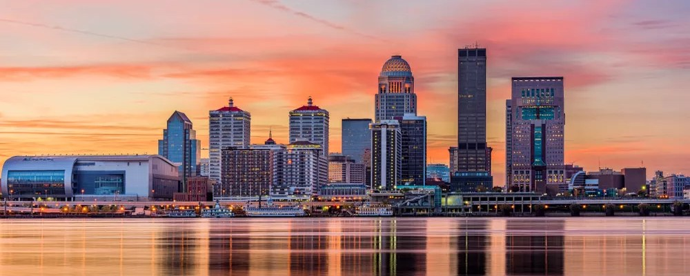 Skyline of Louisville at sunset