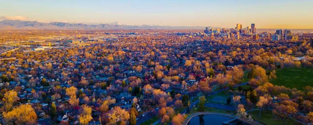Skyline of Denver at sunset