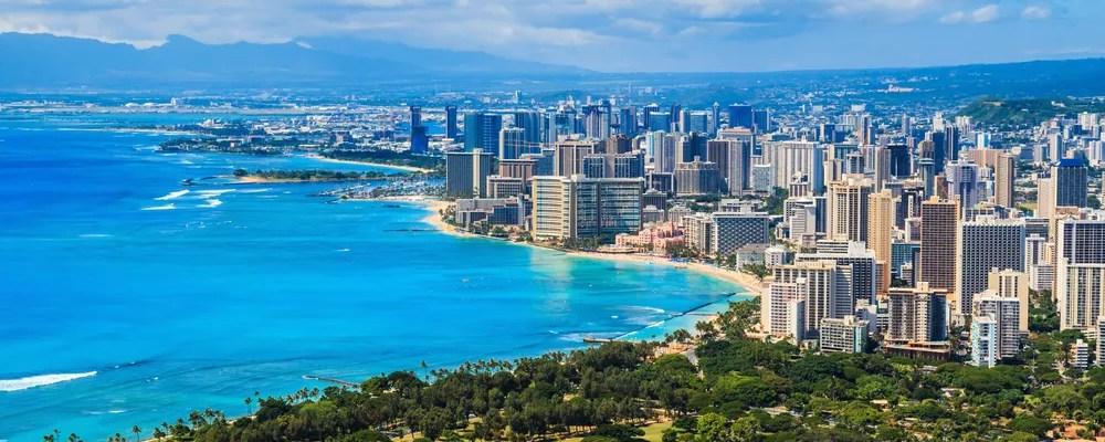 Skyline of Hawaii and Waikiki beach