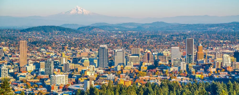 Skyline of Downtown Portland and the mountains