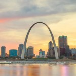 St. Louis Arch during sunset