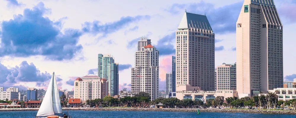Skyline of tall buildings in Downtown San Diego.