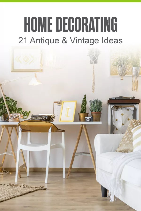 Looking to give your home a makeover with vintage and antique decor? From custom tables made out of old crates to turning old books into vintage wall decor, there are lots of ways to give your home some antique flair! Check out these 21 home decorating ideas for antique and vintage inspiration! via @extraspace