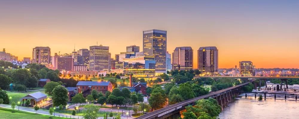 Richmond, VA skyline at dusk