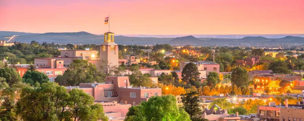 downtown santa fe at dusk