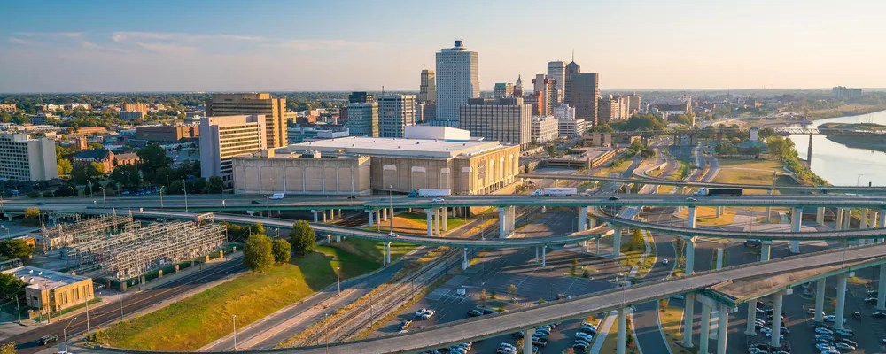 photo of downtown memphis from drone at sunset