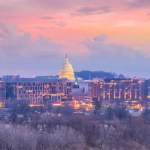 Washington, DC, skyline at dusk with Capitol Building in view