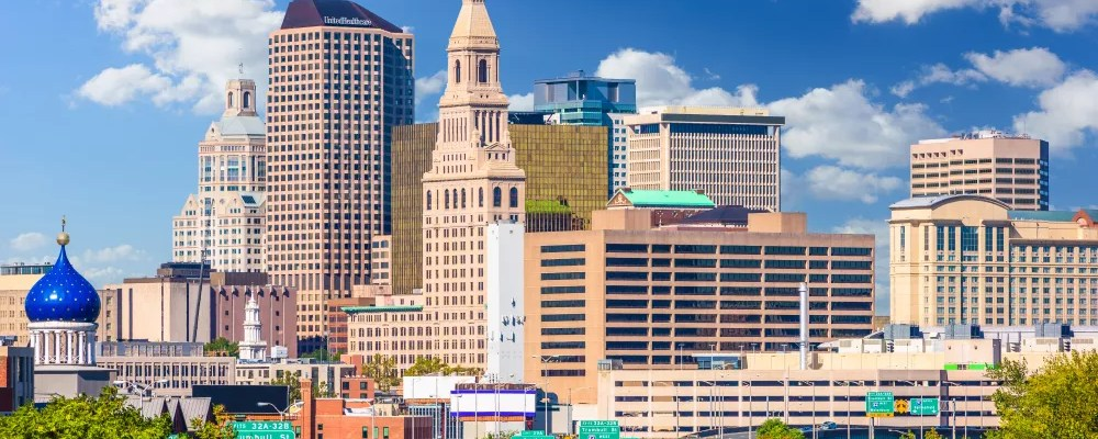 Skyline View of Downtown Hartford, CT in Daytime