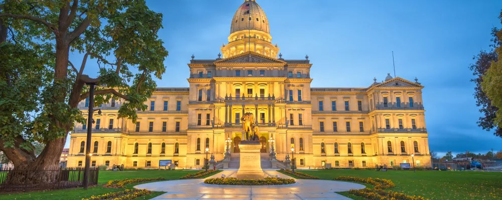 Photo of the Michigan Statehouse in Lansing, MI at Dusk.