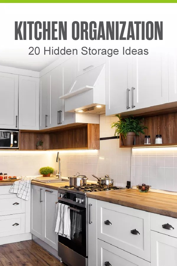 Want to organize your kitchen and maximize storage space? These 20 hidden storage ideas can help you declutter your kitchen and make room for meal prep, cooking, and more! via @extraspace