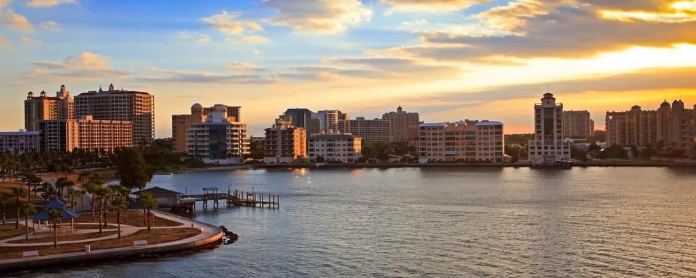 Sarasota, FL skyline at sunset