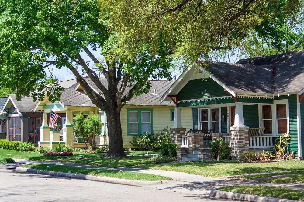 Row of Houses in Houston, TX, Neighborhood