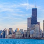 View of the Chicago Skyline Looking from Lake Michigan